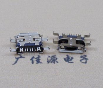 micro usb沉板接口,四脚破板全插带接地线孔卷口镀镍